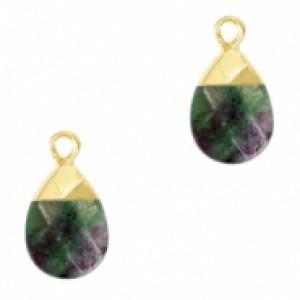 Natuursteen hangers ovaal dark green marble goud