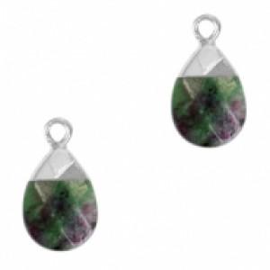 Natuursteen hangers ovaal dark green marble zilver