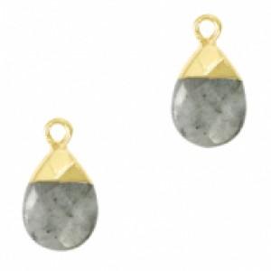 Natuursteen hangers ovaal fossil grey goud