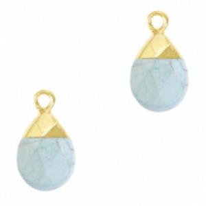Natuursteen hangers ovaal haze blue goud