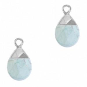 Natuursteen hangers ovaal haze blue zilver