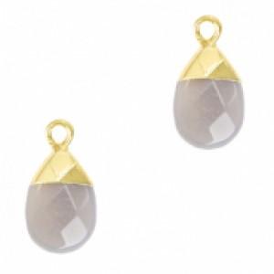 Natuursteen hangers ovaal mirage grey goud