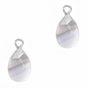 Natuursteen hangers ovaal mirage grey zilver