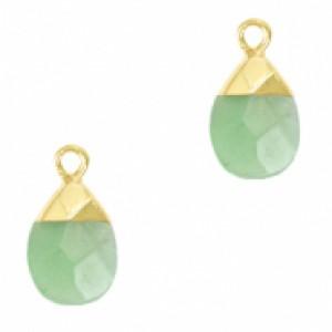 Natuursteen hangers ovaal ocean green goud