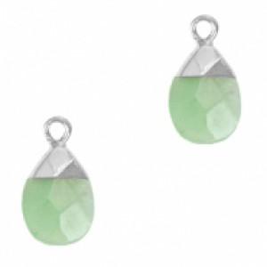 Natuursteen hangers ovaal ocean green zilver