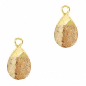 Natuursteen hangers ovaal porcini brown goud