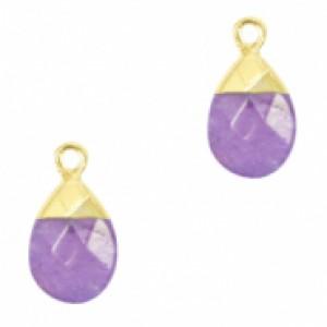 Natuursteen hangers ovaal purple goud