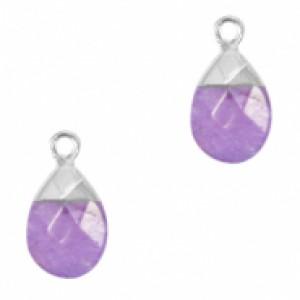 Natuursteen hangers ovaal purple zilver