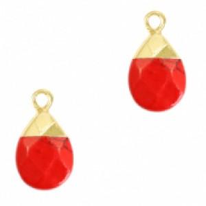 Natuursteen hangers ovaal red marble goud