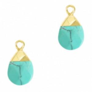 Natuursteen hangers ovaal turquoise goud