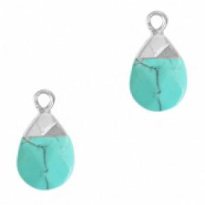 Natuursteen hangers ovaal turquoise zilver