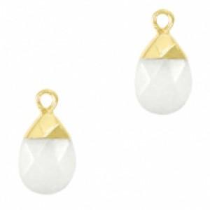 Natuursteen hangers ovaal white goud