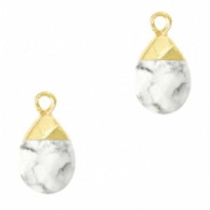 Natuursteen hangers ovaal white marble goud