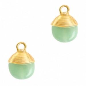 Natuursteen hangers wire wrapped ocean green goud