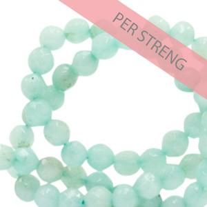 Natuursteen kralen facet geslepen rond 4mm aquamarine green (per streng +/- 90 stuks)