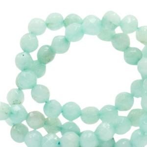 Natuursteen kralen facet geslepen rond 4mm aquamarine green (per stuk)