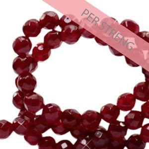 Natuursteen kralen facet geslepen rond 4mm bordeaux red (per streng +/- 90 stuks)