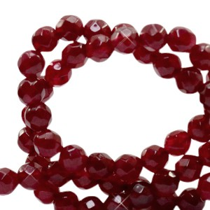 Natuursteen kralen facet geslepen rond 4mm bordeaux red (per stuk)