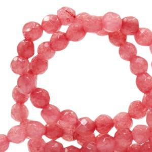 Natuursteen kralen facet geslepen rond 4mm coral red (per stuk)