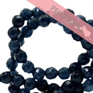 Natuursteen kralen facet geslepen rond 4mm dark blue (per streng +/- 90 stuks)