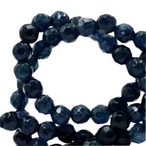 Natuursteen kralen facet geslepen rond 4mm dark blue (per stuk)