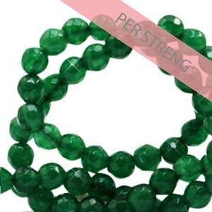 Natuursteen kralen facet geslepen rond 4mm grass green (per streng +/- 90 stuks)