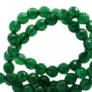 Natuursteen kralen facet geslepen rond 4mm grass green (per stuk)
