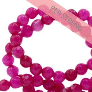 Natuursteen kralen facet geslepen rond 4mm magenta pink (per streng +/- 90 stuks)