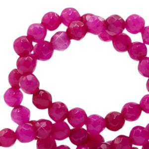 Natuursteen kralen facet geslepen rond 4mm magenta pink (per stuk)