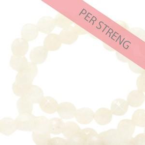 Natuursteen kralen facet geslepen rond 4mm nude white (per streng +/- 90 stuks)