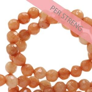Natuursteen kralen facet geslepen rond 4mm rust orange (per streng +/- 90 stuks)