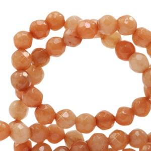 Natuursteen kralen facet geslepen rond 4mm rust orange (per stuk)