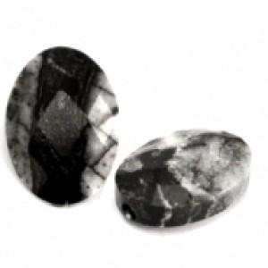 Natuursteen ovaal kralen 18x13mm black antracite