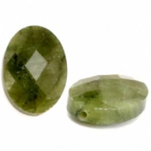 Natuursteen ovaal kralen 18x13mm olive green