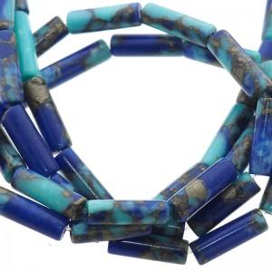 Natuursteen tube kralen rond 13x4mm blauw aqua