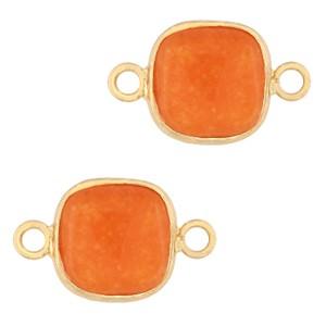 Natuursteen tussenzetsel / tussenstuk vierkant amberglow orange gold 12x12mm