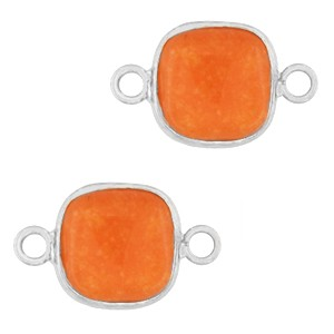 Natuursteen tussenzetsel / tussenstuk vierkant amberglow orange silver 12x12mm