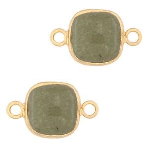 Natuursteen tussenzetsel / tussenstuk vierkant grayed jade green gold 12x12mm