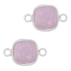 Natuursteen tussenzetsel / tussenstuk vierkant icy lavender purple silver 12x12mm