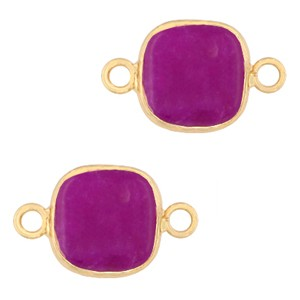 Natuursteen tussenzetsel / tussenstuk vierkant purple pink gold 12x12mm