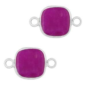 Natuursteen tussenzetsel / tussenstuk vierkant purple pink silver 12x12mm