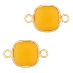 Natuursteen tussenzetsel / tussenstuk vierkant saffron yellow gold 12x12mm