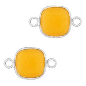 Natuursteen tussenzetsel / tussenstuk vierkant saffron yellow silver 12x12mm