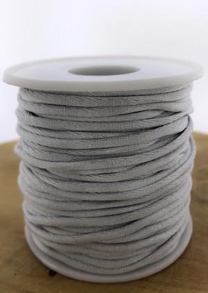 Nylondraad/ stevig satijnkoord rond 2.5mm grijs (per meter)