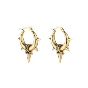 Oorbellen bali hoops pointy chains goud stainless steel 22mm