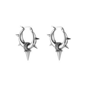 Oorbellen bali hoops pointy chains zilver stainless steel 22mm