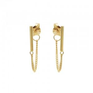 Karma oorbellen bar stud chain 925 sterling goud (per paar)