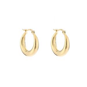 Oorbellen brede ronde creolen goud stainless steel 22mm