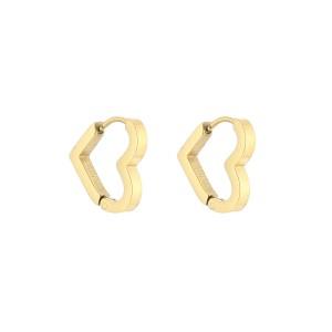 Oorbellen creolen stainless steel heart shape 15mm goud