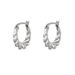 Oorbellen dangling twist zilver stainless steel 19x32cm